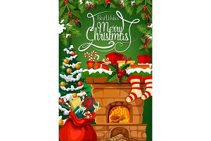 Christmas fireplace, gift stocking greeting card