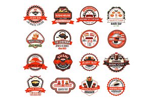 Japanese sushi badge of asian cuisine restaurant