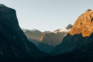 Sunlight through mountains
