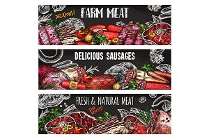 Meat and sausage banner template on chalkboard