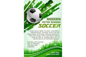 Football sport game banner with soccer ball