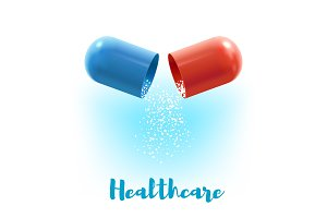 Open capsule pill 3d poster for medicine design