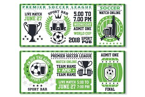 Soccer or football sport game ticket template
