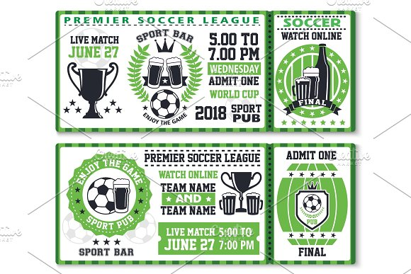 soccer or football sport game ticket template illustrations