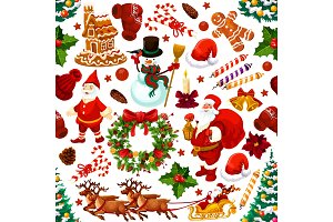 Christmas decoration gifts vector seamless pattern