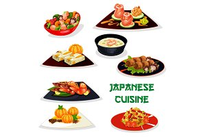 Japanese restaurant dinner icon of asian cuisine