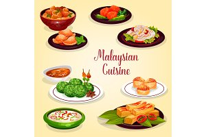 Malaysian cuisine icon of asian restaurant menu