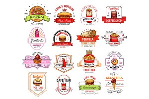 Fast food restaurant, cafe and pizzeria badge