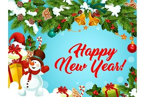 New Year vector greeting card decorations gifts