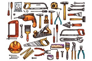 Tool for construction and repair work sketch