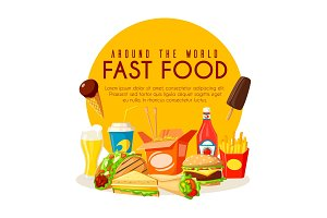 Fast food poster with lunch dishes and drinks