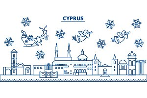Cyprus winter city skyline. Merry Christmas, Happy New Year decorated banner with Santa Claus.Winter greeting line card.Flat, outline vector.Linear christmas snow illustration