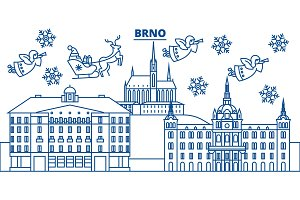 Czech Republic, Brno winter city skyline. Merry Christmas, Happy New Year decorated banner with Santa Claus.Winter greeting line card.Flat, outline vector.Linear christmas snow illustration