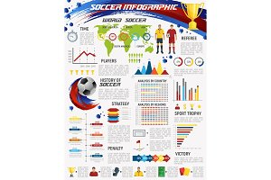 Football game and soccer sport club infographic