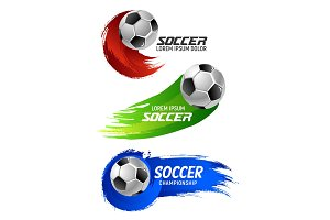 Soccer ball banner for football sport game design