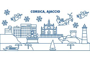 France, Ajaccio winter city skyline. Merry Christmas, Happy New Year decorated banner with Santa Claus.Winter greeting line card.Flat, outline vector.Linear christmas snow illustration