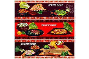 Japanese restaurant dinner for menu banner design