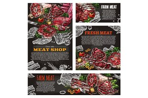 Meat product chalkboard banner for butcher shop