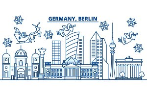 Germany, Berlin winter city skyline. Merry Christmas, Happy New Year decorated banner with Santa Claus.Winter greeting line card.Flat, outline vector.Linear christmas snow illustration