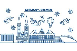 Germany, Bremen winter city skyline. Merry Christmas, Happy New Year decorated banner with Santa Claus.Winter greeting line card.Flat, outline vector.Linear christmas snow illustration