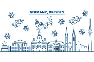 Germany, Dresden winter city skyline. Merry Christmas, Happy New Year decorated banner with Santa Claus.Winter greeting line card.Flat, outline vector.Linear christmas snow illustration