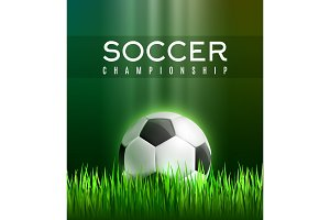 Football sport game poster with 3d soccer ball