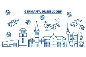 Germany, Dusseldorf winter city skyline. Merry Christmas, Happy New Year decorated banner with Santa Claus.Winter greeting line card.Flat, outline vector.Linear christmas snow illustration