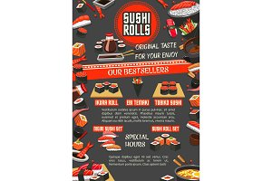 Japanese sushi banner of asian cuisine restaurant