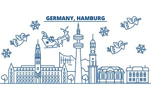Germany, Hamburg winter city skyline. Merry Christmas, Happy New Year decorated banner with Santa Claus.Winter greeting line card.Flat, outline vector.Linear christmas snow illustration