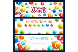 Vitamin pill 3d banner for medicine template