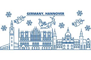 Germany, Hannover winter city skyline. Merry Christmas, Happy New Year decorated banner with Santa Claus.Winter greeting line card.Flat, outline vector.Linear christmas snow illustration