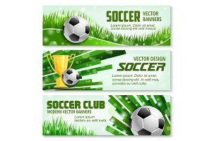 Football sport 3d banner of soccer ball and trophy