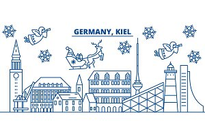 Germany, Kiel winter city skyline. Merry Christmas, Happy New Year decorated banner with Santa Claus.Winter greeting line card.Flat, outline vector.Linear christmas snow illustration