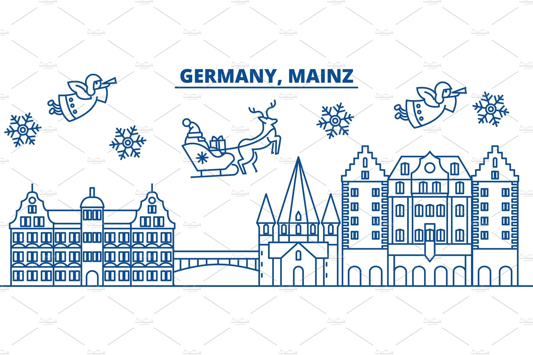 germany mainz winter city skyline merry christmas happy new year decorated banner with