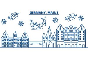 Germany, Mainz winter city skyline. Merry Christmas, Happy New Year decorated banner with Santa Claus.Winter greeting line card.Flat, outline vector.Linear christmas snow illustration