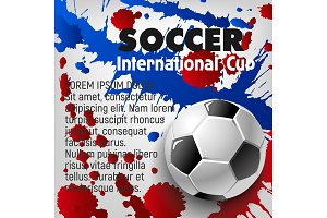 Soccer ball 3d poster of football sport template