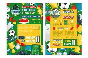 Football or soccer sport tournament match banner