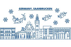 Germany, Saarbrucken winter city skyline. Merry Christmas, Happy New Year decorated banner with Santa Claus.Winter greeting line card.Flat, outline vector.Linear christmas snow illustration