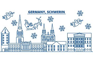 Germany, Schwerin winter city skyline. Merry Christmas, Happy New Year decorated banner with Santa Claus.Winter greeting line card.Flat, outline vector.Linear christmas snow illustration