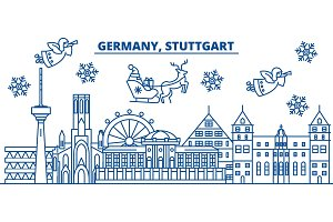 Germany, Stuttgart winter city skyline. Merry Christmas, Happy New Year decorated banner with Santa Claus.Winter greeting line card.Flat, outline vector.Linear christmas snow illustration