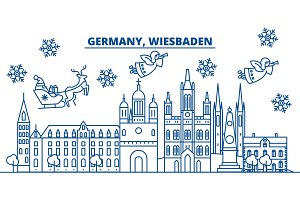 Germany, Wiesbaden winter city skyline. Merry Christmas, Happy New Year decorated banner with Santa Claus.Winter greeting line card.Flat, outline vector.Linear christmas snow illustration