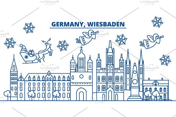germany wiesbaden winter city skyline merry christmas happy new year decorated banner with