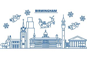 Great Britain, Birmingham winter city skyline. Merry Christmas, Happy New Year decorated banner with Santa Claus.Winter greeting line card.Flat, outline vector.Linear christmas snow illustration
