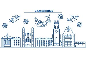 Great Britain, Cambridge winter city skyline. Merry Christmas, Happy New Year decorated banner with Santa Claus.Winter greeting line card.Flat, outline vector.Linear christmas snow illustration