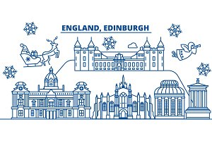 Great Britain, Edinburgh winter city skyline. Merry Christmas, Happy New Year decorated banner with Santa Claus.Winter greeting line card.Flat, outline vector.Linear christmas snow illustration