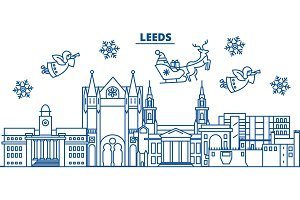 Great Britain, Leeds winter city skyline. Merry Christmas, Happy New Year decorated banner with Santa Claus.Winter greeting line card.Flat, outline vector.Linear christmas snow illustration