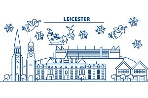 Great Britain, Leicester winter city skyline. Merry Christmas, Happy New Year decorated banner with Santa Claus.Winter greeting line card.Flat, outline vector.Linear christmas snow illustration