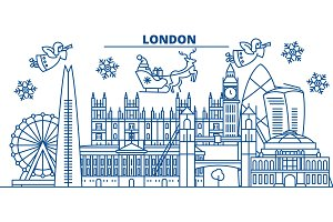 Great Britain, London winter city skyline. Merry Christmas, Happy New Year decorated banner with Santa Claus.Winter greeting line card.Flat, outline vector.Linear christmas snow illustration