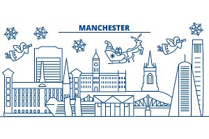 Great Britain, Manchester winter city skyline. Merry Christmas, Happy New Year decorated banner with Santa Claus.Winter greeting line card.Flat, outline vector.Linear christmas snow illustration