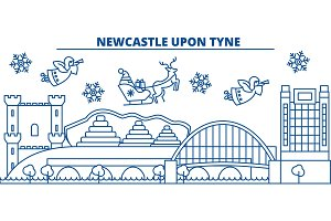 Great Britain, Newcastle upon Tyne winter city skyline. Merry Christmas, Happy New Year decorated banner with Santa Claus.Winter greeting line card.Outline vector.Linear christmas snow illustration